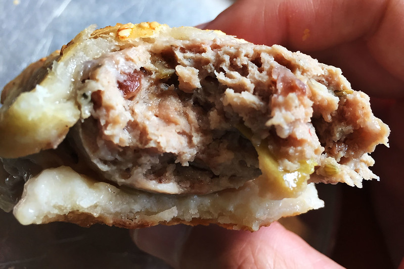 Caramelised apple and pork roll with fennel and cayenne pepper