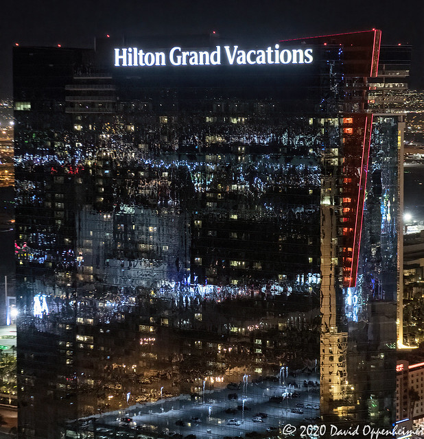 Hilton Grand Vacations on the Las Vegas Strip at Night Aerial View