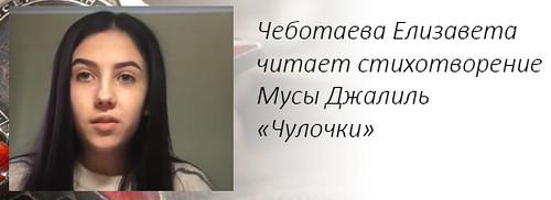 Чеботаева Елизавета читает стихотворение Мусы Джалиль «Чулочки»