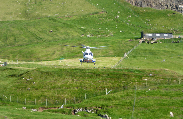 Atlantic Airways helicopter at Mykines