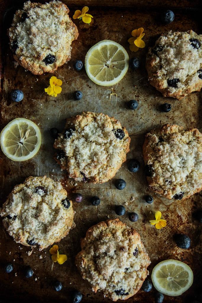 Lemon Blueberry Scones with Lemon Sugar (Vegan aand Gluten-free) from HeatherChristo.com