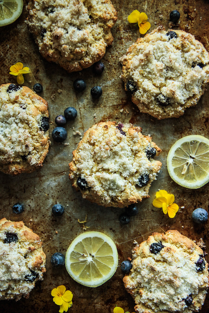 Lemon Blueberry Scones with Lemon Sugar (Vegan aand Gluten-free) from HeatherChristo.com
