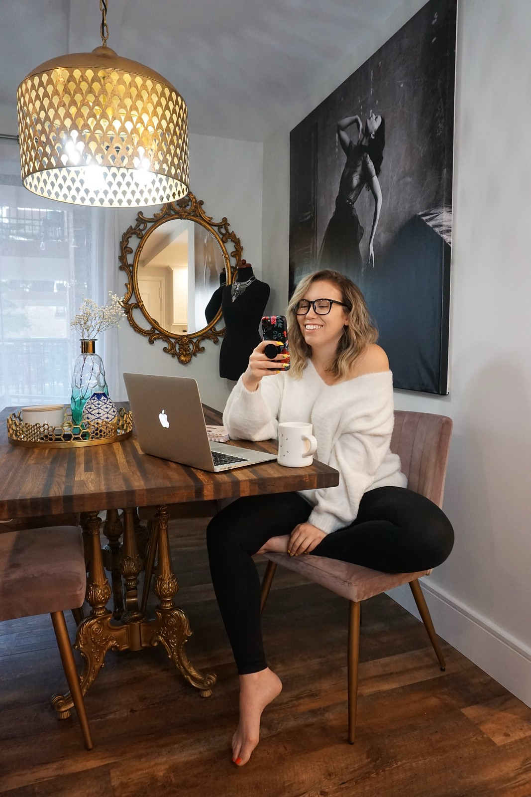 White Sweater Black Leggings | Easy Work At Home Look | Glam Vintage Inspired Dining Room Work Station | 10 Comfortable Quarantine Outfits That Aren't Sweatpants | Stay At Home Outfit Ideas | Shelter in Place Outfits