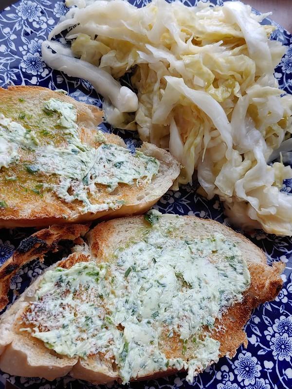 Sauerkraut and Bread w Chive Butter