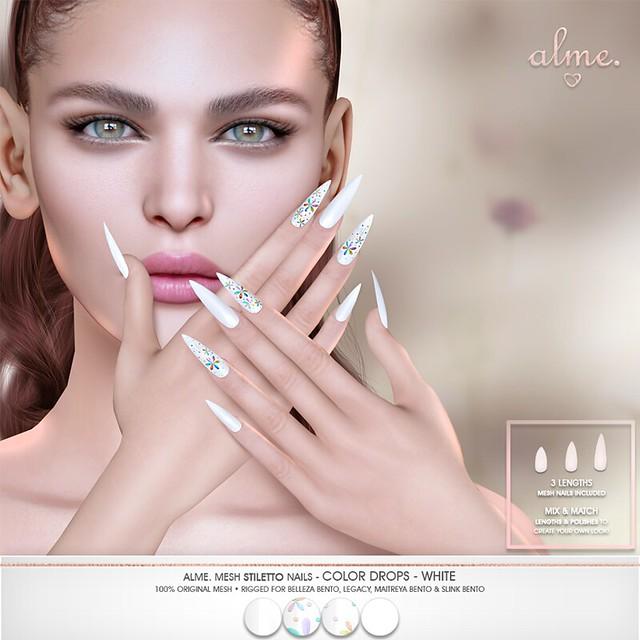 """Alme. - Anthem Event Cheapie  """"Alme Mesh Nails// Color Drops-White in stiletto"""