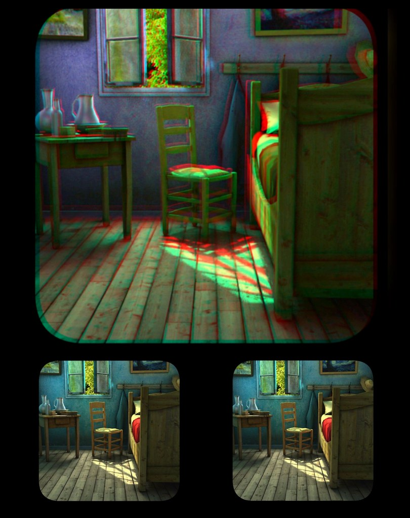 Van Gogh room.. anaglyph and cross-eyed