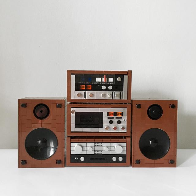 LEGO MOC Vintage Hifi Deck Cassette Tape Tuner Amplifier