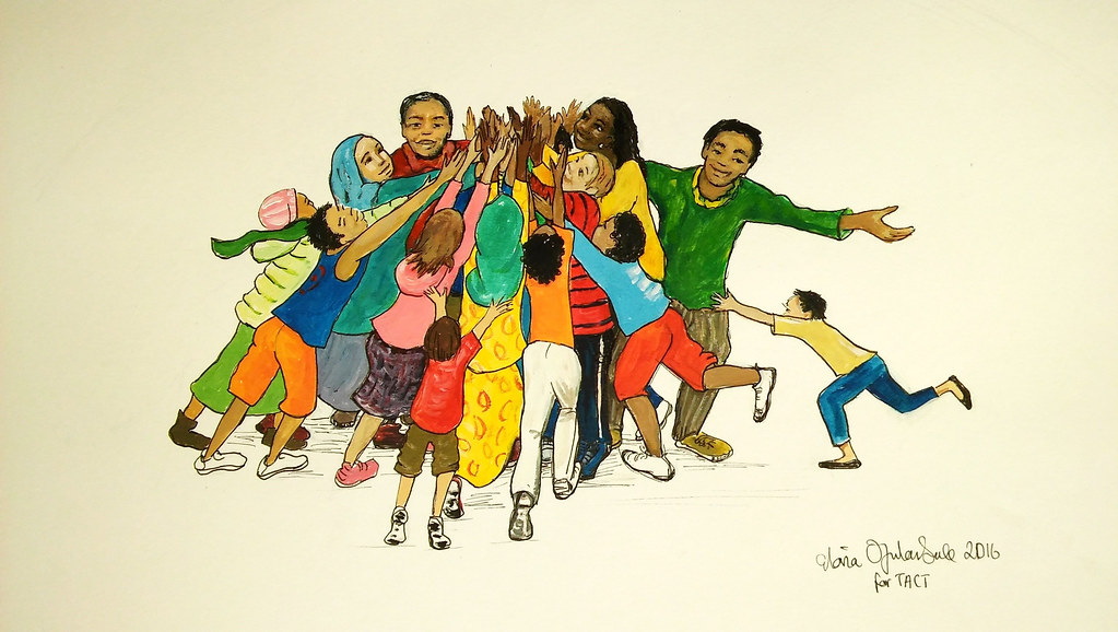 An illustrations showing a group of children from different ethnic backgrounds standing in a circle