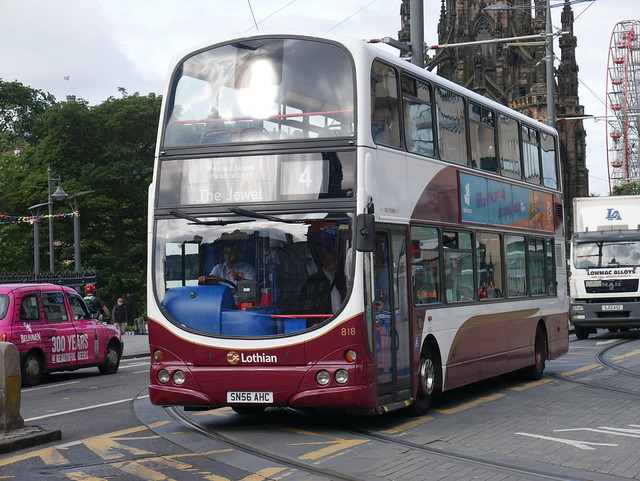 Lothian Volvo B7TL Wright Eclipse Gemini SN56AHC 818 operating service 4 to The Jewel at Princes Street on 18 July 2019.
