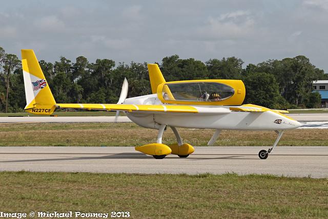 N227CF - 2008 build Rutan Long-Ez, taxiing to parking on arrival at Lakeland during Sun 'n Fun 2013