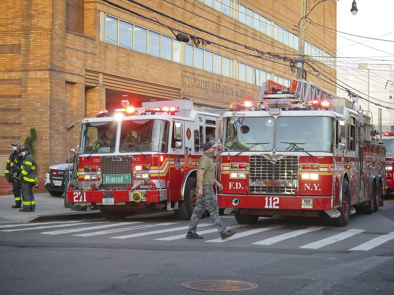 FDNY tribute to healthcare workers at Wyckoff Heights Medical Center