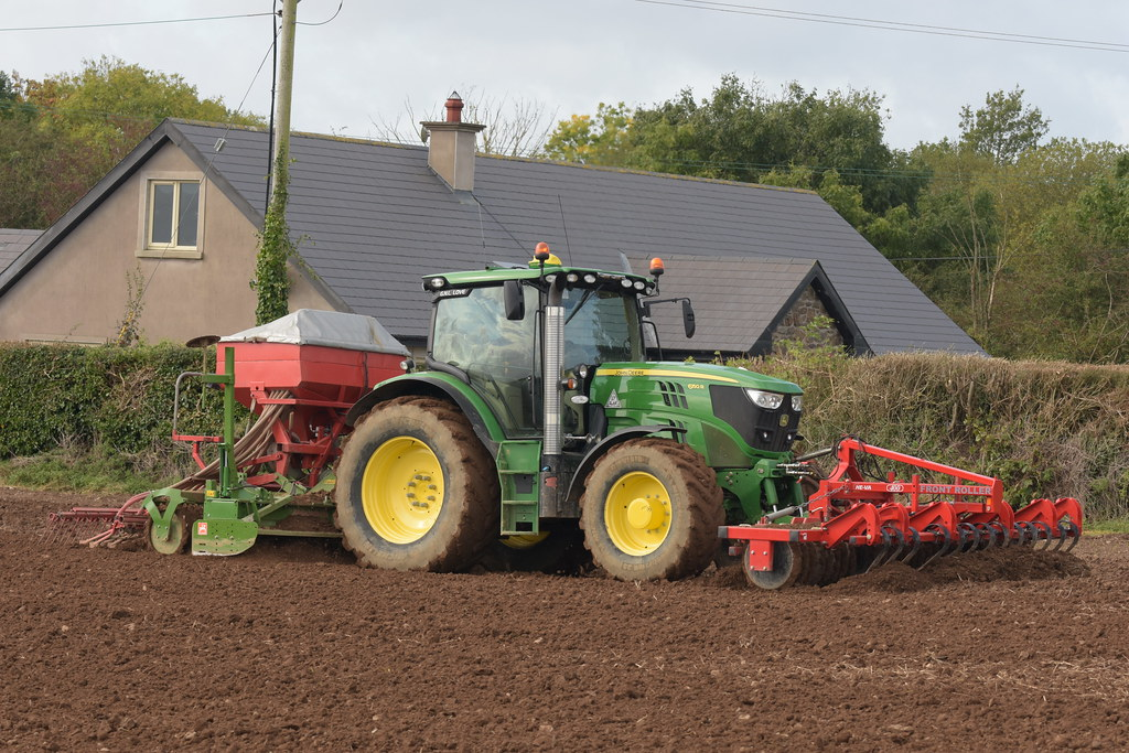 John Deere 6150R Tractor with a Cross Engineering Front Press, Amazone Power Harrow & Kverneland Accord DAS Seed Drill