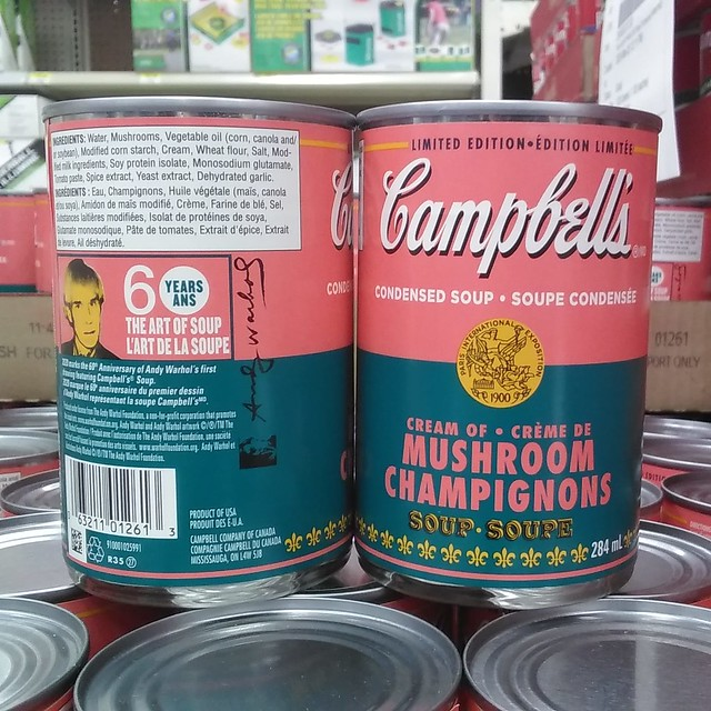 """60 Years: The Art of Soup"" #toronto #dufferinmall #brocktonvillage #blue #walmart #campbellssoup #andywarhol #popart #cans181115_555"