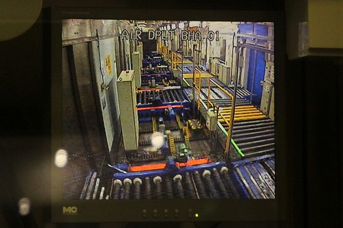CCTV monitor looking over the baggage container handing room