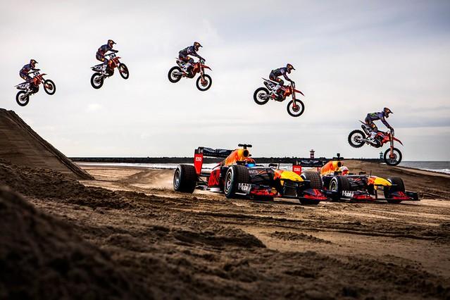 Max Verstappen, Alexander Albon and Jeffrey Herlings