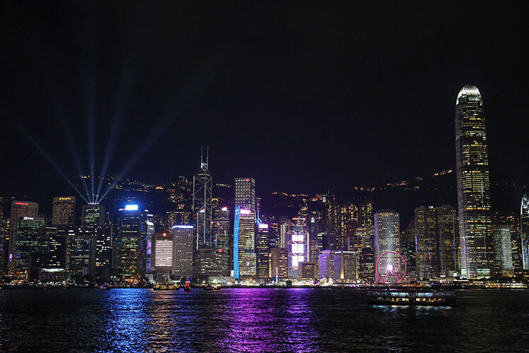 Catch the lights show at Victoria Harbour Hong Kong