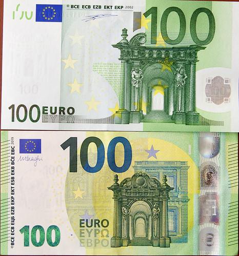 Billetes de 100 Euros; antiguo y nuevo, Serie Europa. Anverso