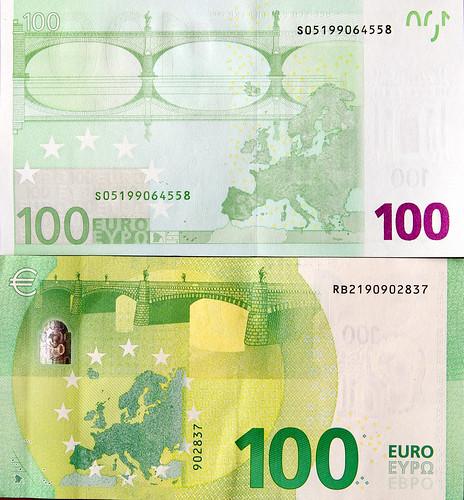 Billetes de 100 Euros; antiguo y nuevo, Serie Europa. Reverso