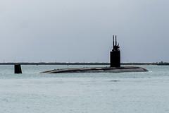 USS Alexandria (SSN 757) transits Apra Harbor in Guam, May 5, for operations in the region. (U.S. Navy/MC3 Randall W. Ramaswamy)