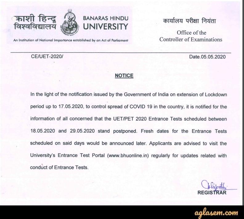 BHU UET 2020 Exam Date Postponement Notice