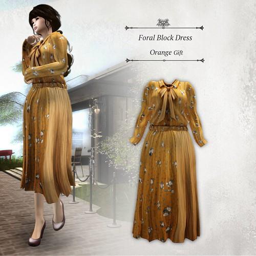 Floral Block Dress Orange (Group Gift)