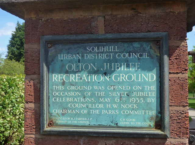 Gates at Olton Jubilee Park - plaque - Silver Jubilee of George V