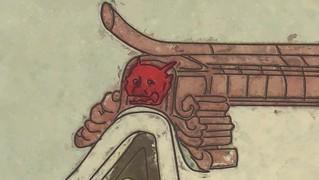 酒呑童子の赤い鬼瓦(?): 比叡山延暦寺の根本中堂の屋根にある酒呑童子のような色をした赤い鬼瓦