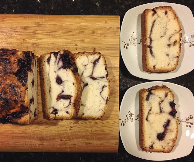 Blueberry swirl pound cake. Made a compote from frozen blueberries picked last year. 💙 #baking #poundcake #blueberryrecipes