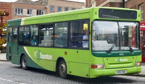 X202 HAE 'First South West' No. 43822 'the buses of Taunton'. Dennis dart / Plaxton Mini Pointer. on Dennis Basford's railsroadsrunways.blogspot.co.uk'