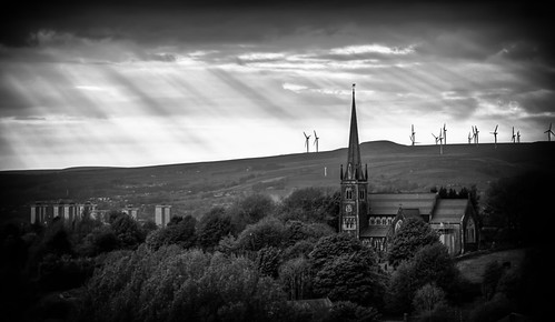 stthomaschurch church newhey rochdale severnsisters flats windfarm hills views village trees monochrome blackwhite bw blackandwhite sky sunset sunlight canon70200mm canon canoneos5dmarkii