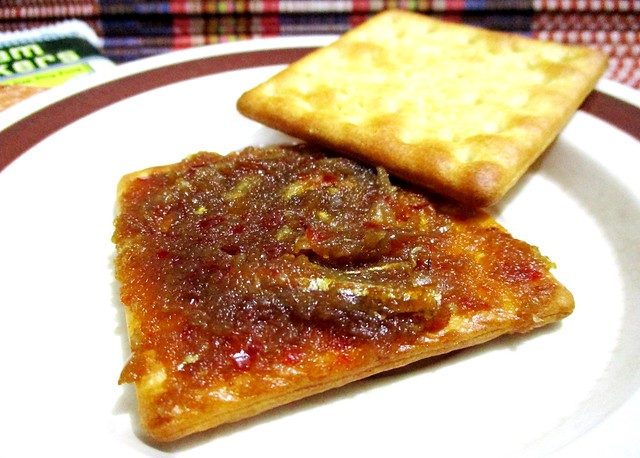 Sambal ikan bilia with cream crackers