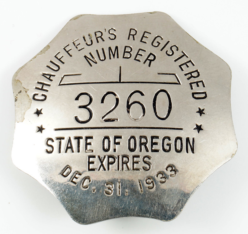 RD29145 State of OREGON Dec. 31, 1933 Registered Chauffeur
