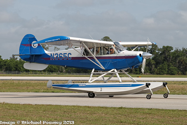 N365C - 2001 build Aviat A-1B Husky, taxiing to parking on arrival at Lakeland during Sun 'n Fun 2013