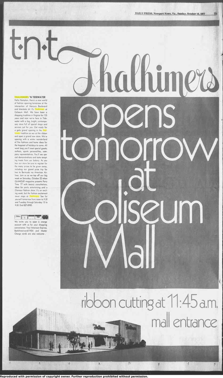 Thalhimers Grand Opening, 10-17-1977, Coliseum Mall, Hampton, VA