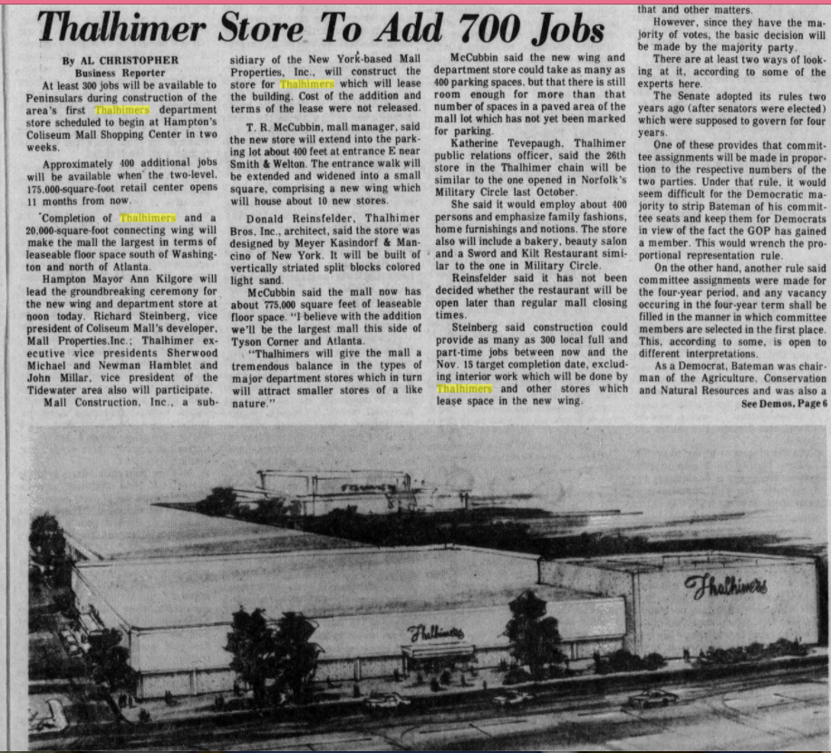 thalhimers announcement at Coliseum Mall, 1 12 1977
