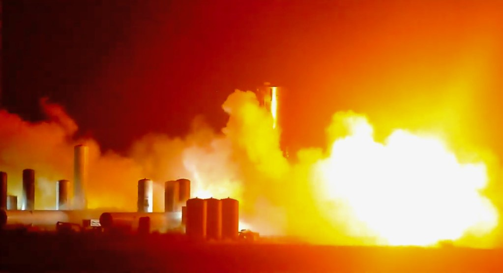 SpaceX Starship SN4 Static fire explosion in Boca Chica,Texas