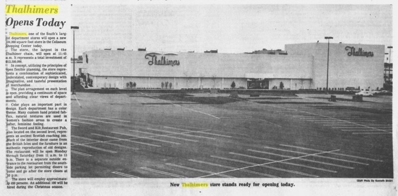 Thalhimers Grand Opening, 10-17-1977, Coliseum Mall, Hampton, VA