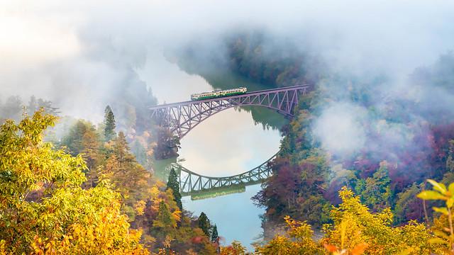 Tadami River Daiichi Bridge (Tadami Line) Autumn landscape Fukushima