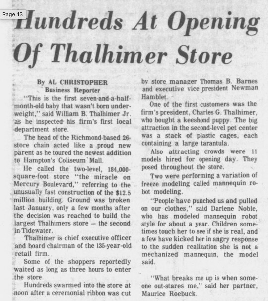 thalhimeres grand opening 7 10-18-1977