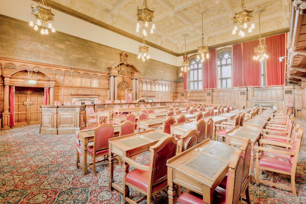 The Council Chamber inside Sheffield Town Hall in England [OC][8687x5791]