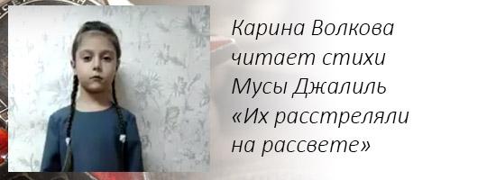 Карина Волкова читает стихи Мусы Джалиль «Их расстреляли на рассвете»