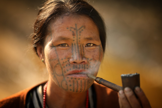 Myanmar, tattooed lady in Chin State
