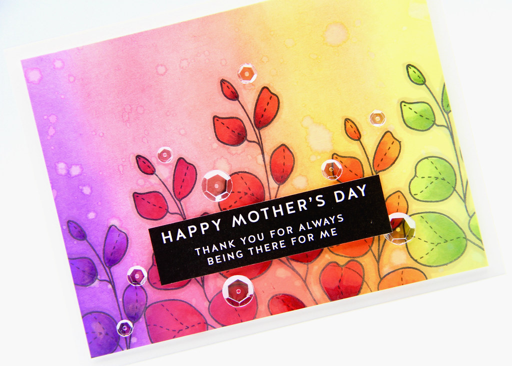 Rainbow Mother's Day card closeup1