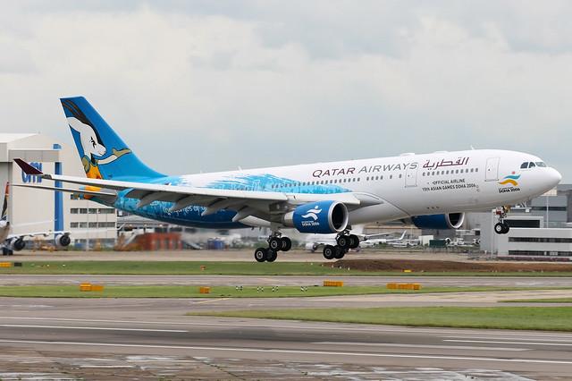 Qatar Airways | Airbus A330-200 | A7-ACI | Doha 2006 Asian Games blue livery | London Heathrow