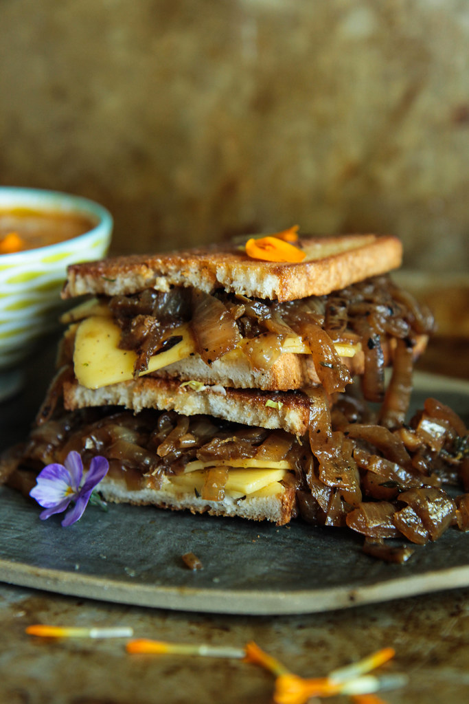 Vegan French Onion Grilled Cheese sandwich from HeatherChristo.com