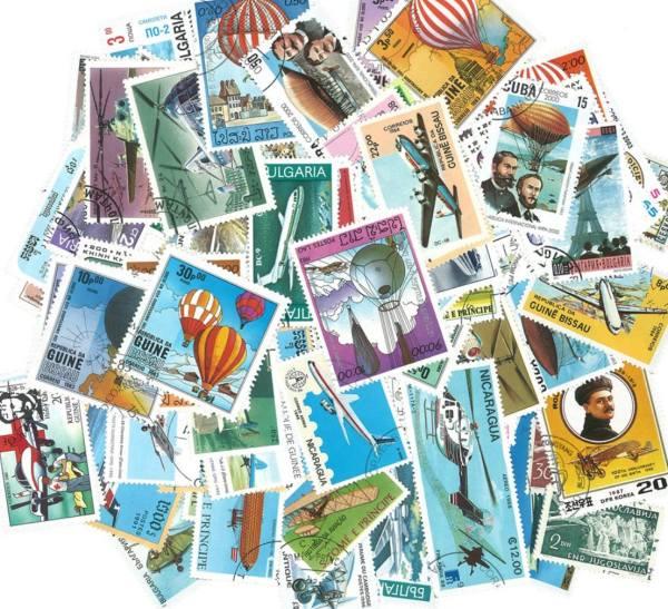 Známky tematické - letectvo balíček 100 ks rôznych