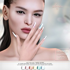 """Alme. in Second Life GROUP GIFT """"Alme Mesh Nails// Pastel Glossy"""" in 4 shapes"""