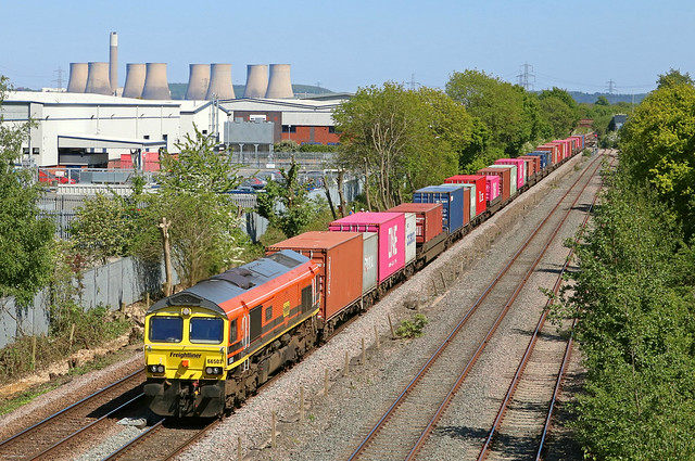 Freightliner 66503 'The Railway Magazine' in Genesee & Wyoming orange and black livery passes Castle Donington on 6.5.20 with 4O95 1218 Leeds F.L.T. to Southampton M.C.T. well loaded  liner