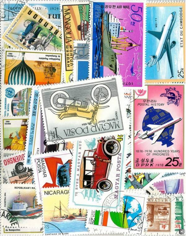Známky tematické - transport balíček 100 ks rôznych