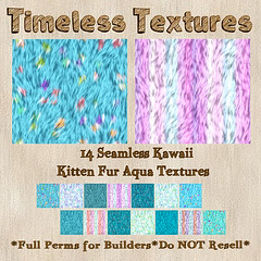 TT 14 Seamless Kawaii Kitten Fur Aqua Timeless Textures